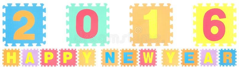 Las palabras de la Feliz Año Nuevo 2016 hechas de alfabeto desconciertan stock de ilustración