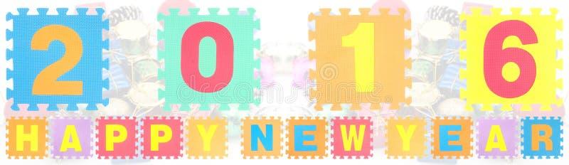Las palabras de la Feliz Año Nuevo 2016 hechas de alfabeto desconciertan imagen de archivo libre de regalías