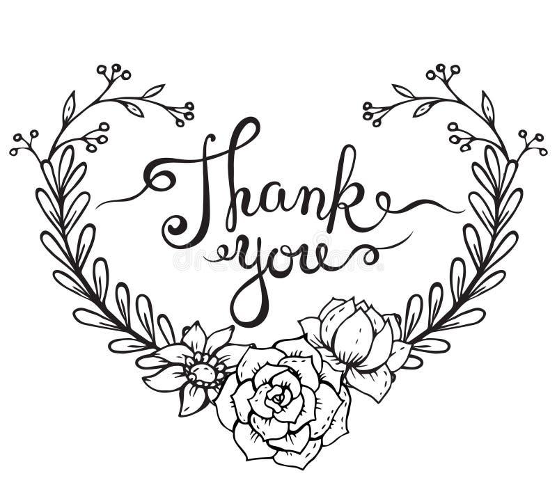 Las palabras de las letras de la mano le agradecen con la guirnalda floral libre illustration