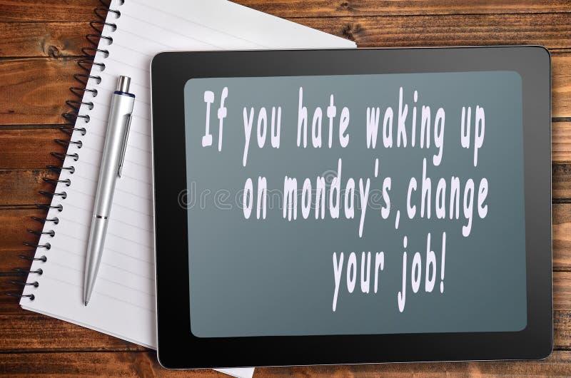 Las palabras de lunes del odio fotografía de archivo