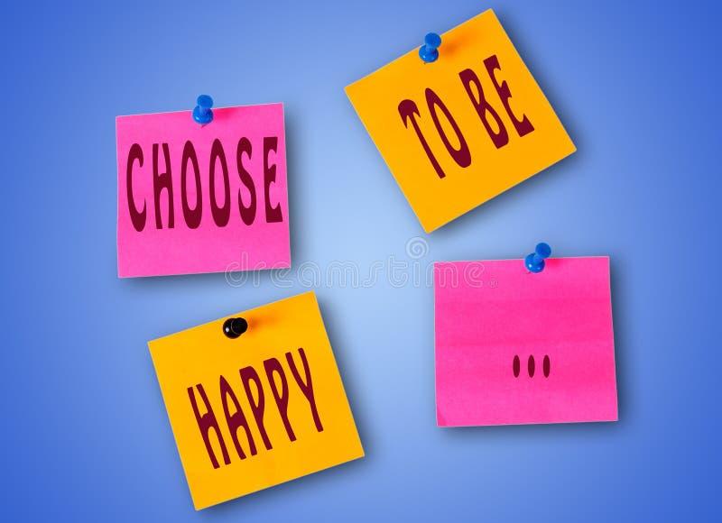 Las palabras eligen ser felices fotografía de archivo