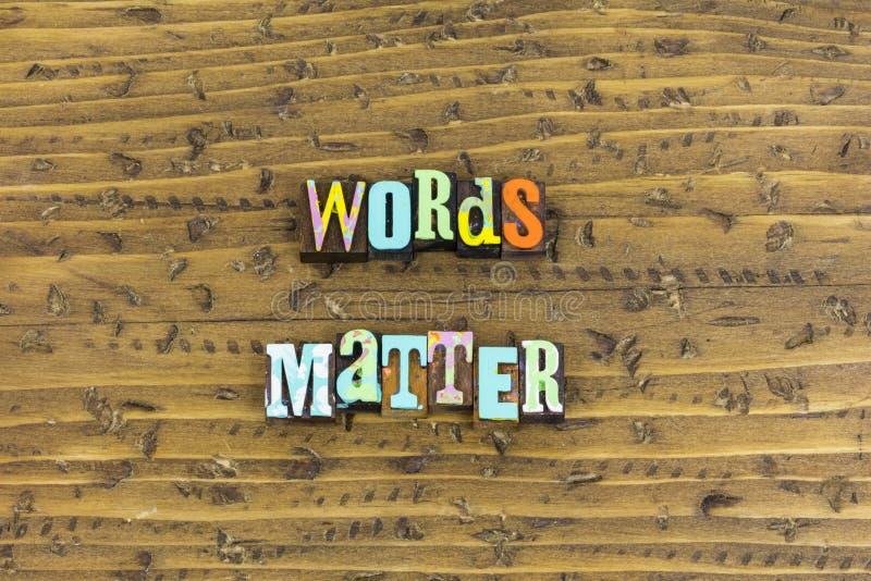 Las palabras importan comprensión fotografía de archivo