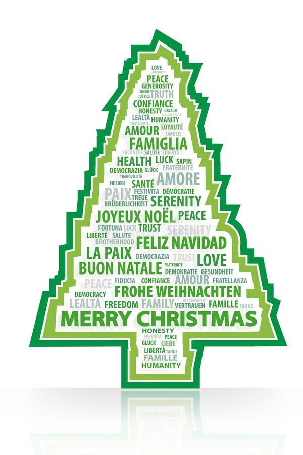 Las palabras mágicas del árbol de navidad stock de ilustración