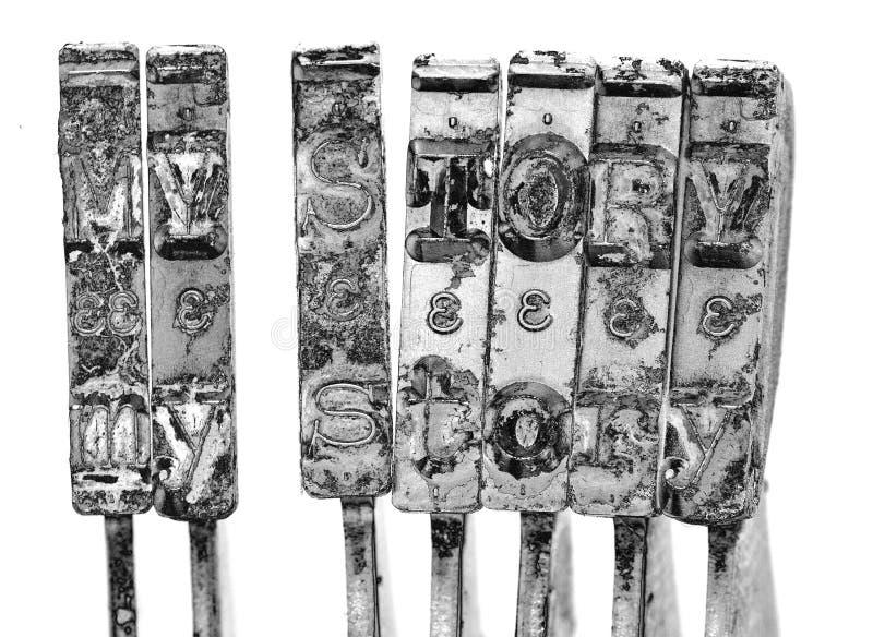 Las palabras MI HISTORIA con vieja macro de los martillos de la máquina de escribir imagen de archivo libre de regalías
