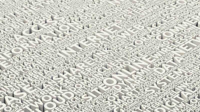 Las palabras modernas y las etiquetas de la tecnología de Internet se nublan el collage, fondo sólido del texto conceptual, esque ilustración del vector