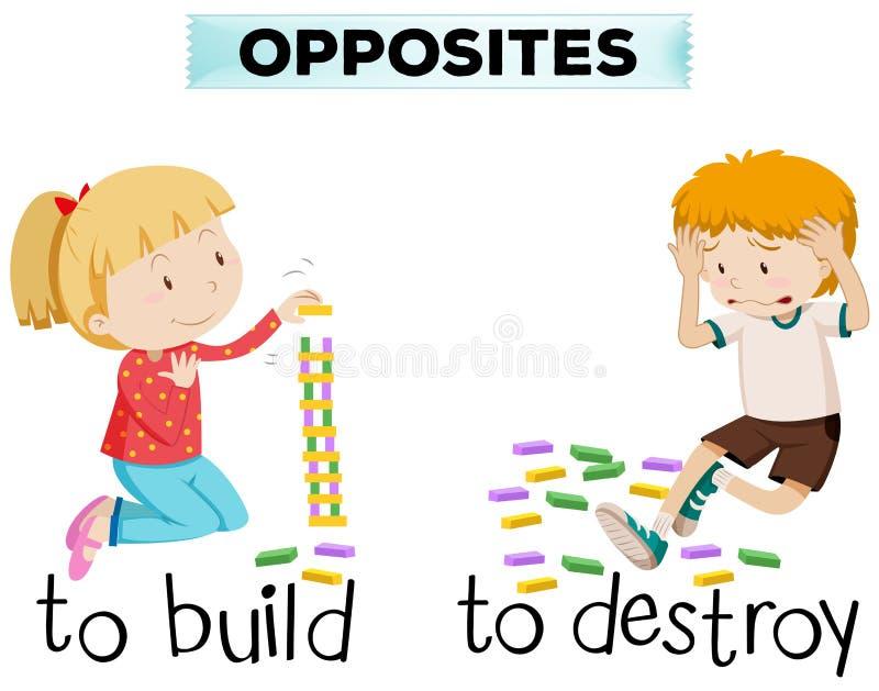Las palabras opuestas para la estructura y destruyen ilustración del vector