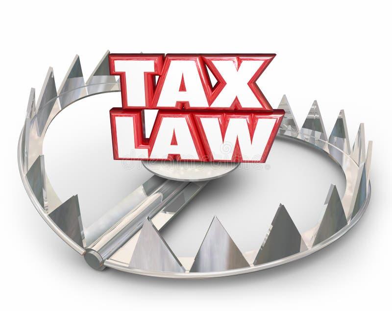 Las palabras rojas de la legislación fiscal 3d llevan regulaciones de las reglas legales de la trampa ilustración del vector