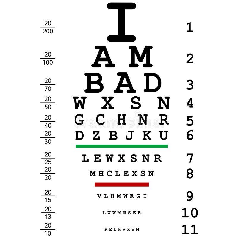 Las palabras soy malo con uso óptico de la prueba del ojo del doctor stock de ilustración