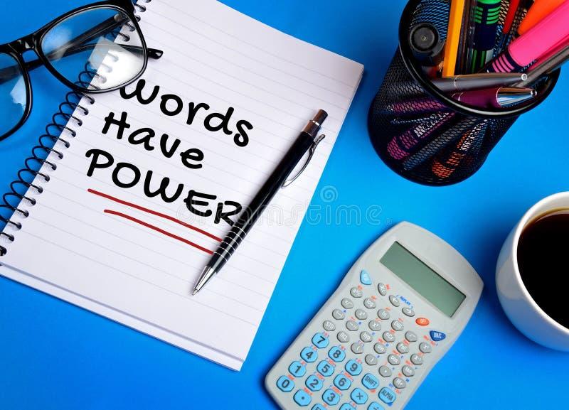 Las palabras tienen palabra del poder imagen de archivo libre de regalías
