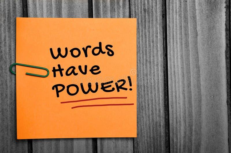 Las palabras tienen palabra del poder fotografía de archivo