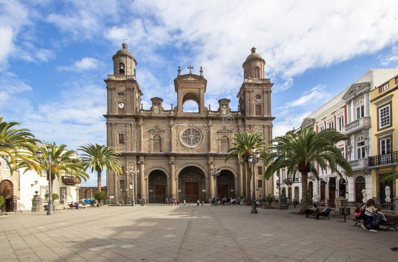 Las Palmas cathedral, Gran Canaria, Spain. Santa Ana Cathedral in Las Palmas de Gran Canaria, Spain stock photography