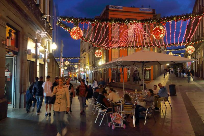 Las Palmas Christmas. LAS PALMAS, SPAIN - NOVEMBER 29, 2015: People visit Vegueta Old Town in Las Palmas, Gran Canaria, Spain. Canary Islands had record 12.9 stock photos