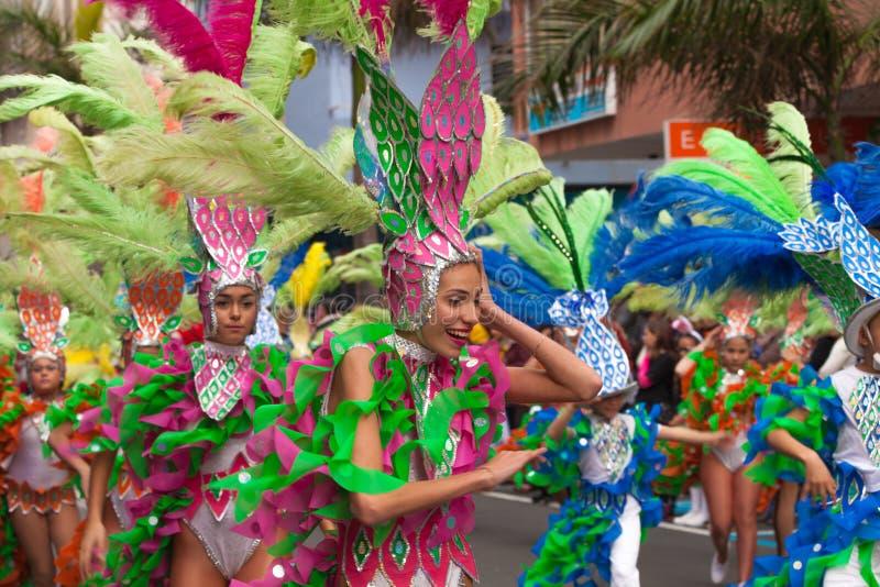 Las Palmas De Gran Canaria dzieci karnawałowa parada 2015 obraz stock