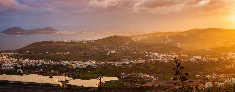 Las Palmas de Gran Canaria -panorama royalty-vrije stock foto's