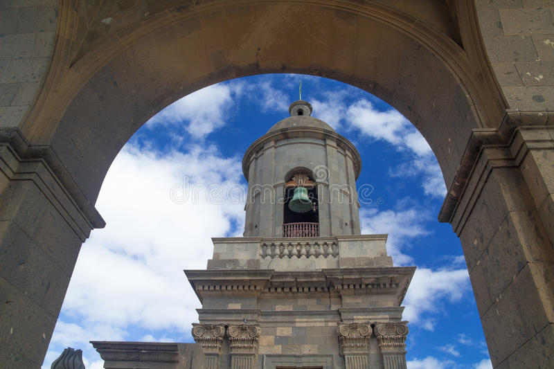 Las Palmas de Gran Canaria, Santa Ana cathedral, architectural d. Etails, belltower stock photo