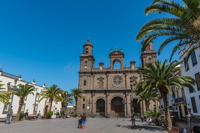 LAS PALMAS DE GRAN CANARIA, SPAIN - MARCH 10, 2019: The Cathedral of Saint Ana situated in the old district Vegueta.  royalty free stock photo