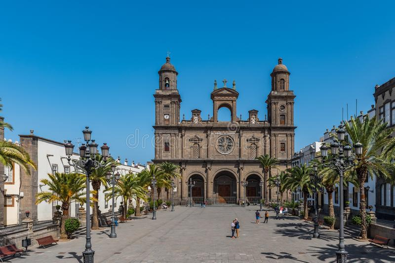 LAS PALMAS DE GRAN CANARIA, SPAIN - MARCH 10, 2019: The Cathedral of Saint Ana situated in the old district Vegueta. Copy space. For text stock photography