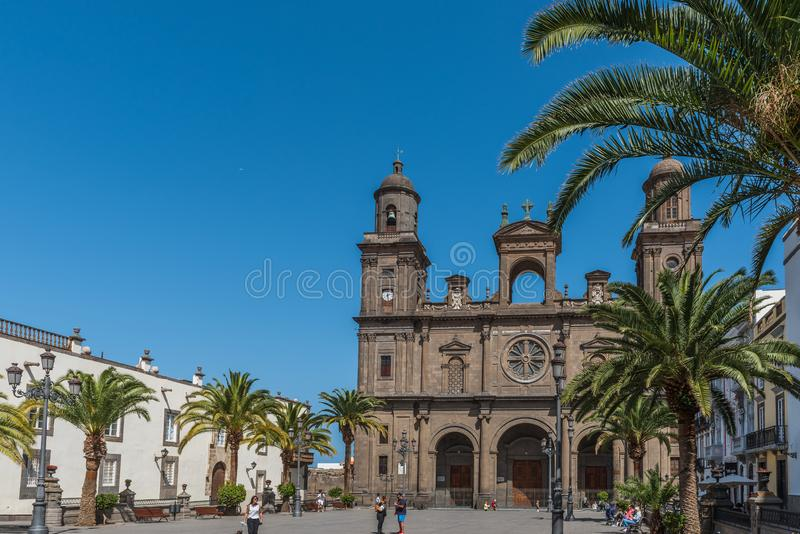 LAS PALMAS DE GRAN CANARIA, SPAIN - MARCH 10, 2019: The Cathedral of Saint Ana situated in the old district Vegueta.  royalty free stock photos