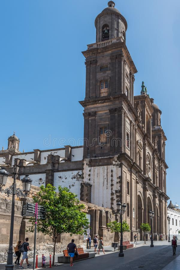LAS PALMAS DE GRAN CANARIA, SPAIN - MARCH 10, 2019: The Cathedral of Saint Ana situated in the old district Vegueta. Vertical.  stock image