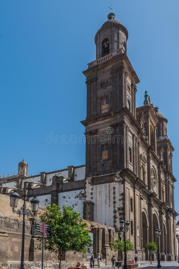LAS PALMAS DE GRAN CANARIA, SPAIN - MARCH 10, 2019: The Cathedral of Saint Ana situated in the old district Vegueta. Vertical.  royalty free stock image