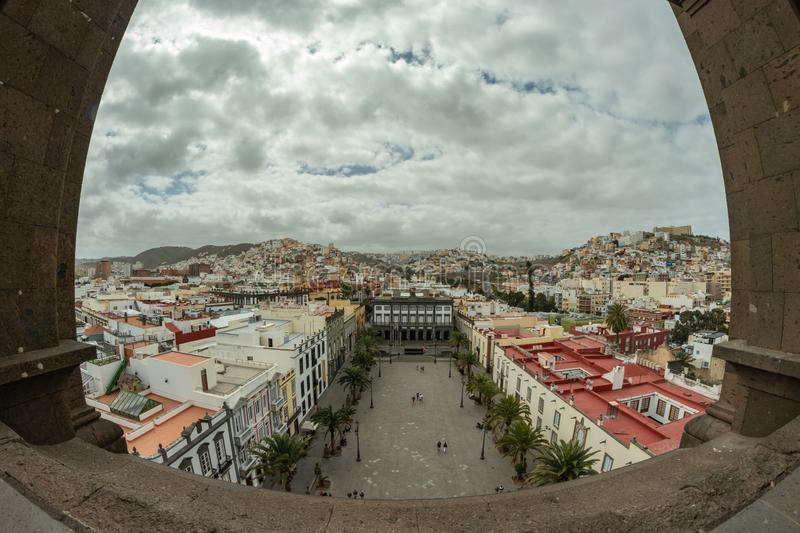 LAS PALMAS DE GRAN CANARIA, SPAIN - MARCH 08, 2019: View from the roof of the cathedral of Santa Ana to the square and part of the. Historic center La Vegueta stock photos