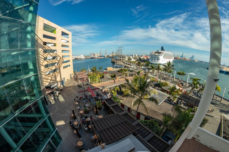 Las Palmas, Gran Canaria - January 07, 2019: View of the largest Canarian port with sailboats and cruises moored in their docks. Shot made by fish eye lens royalty free stock images