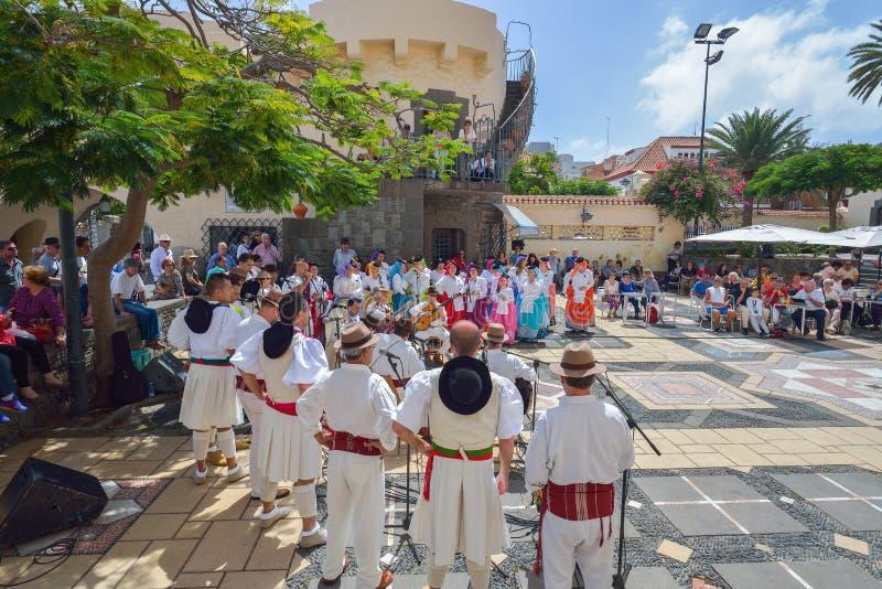 LAS PALMAS, GRAN CANARIA, SPANJE - MAART 10, 2017: Traditionele Kanariemusici in Las Palmas royalty-vrije stock fotografie
