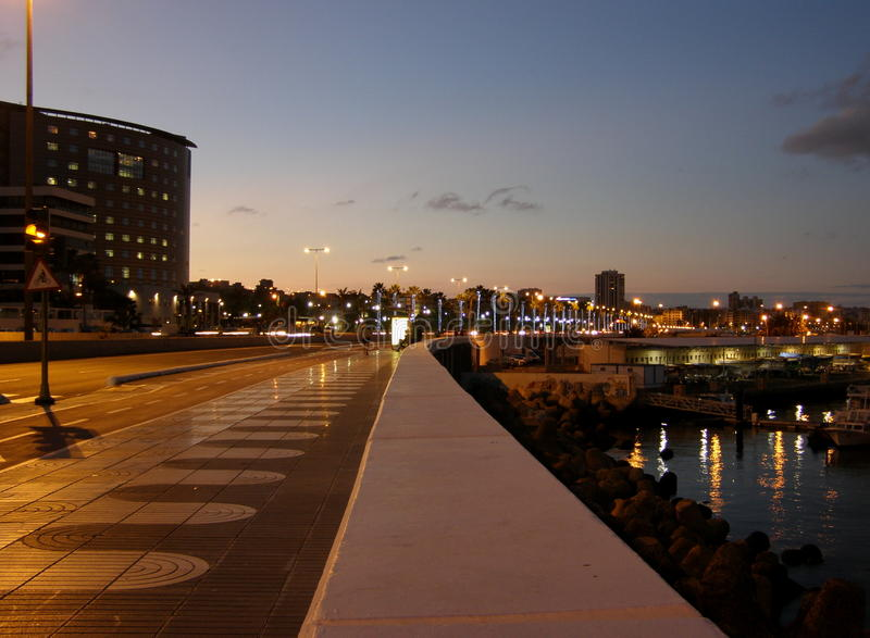Las Palmas sea promenade at night royalty free stock images