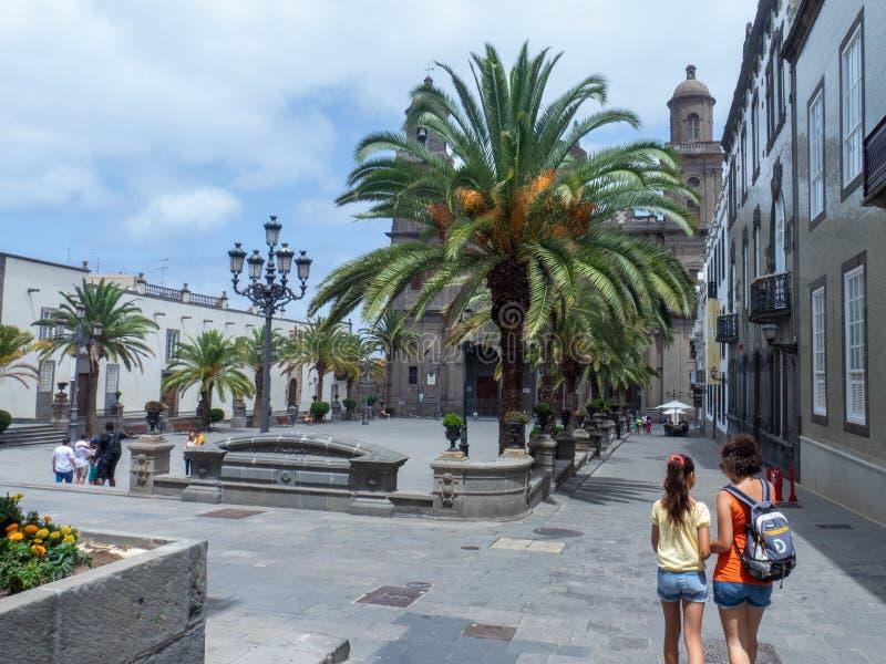 Plaza de Santa Ana, Las Palmas, Gran Canaria. Las Palmas/Spain - August 15 2019: Las Palmas is a city and capital of Gran Canaria island, in the Canary Islands stock photos
