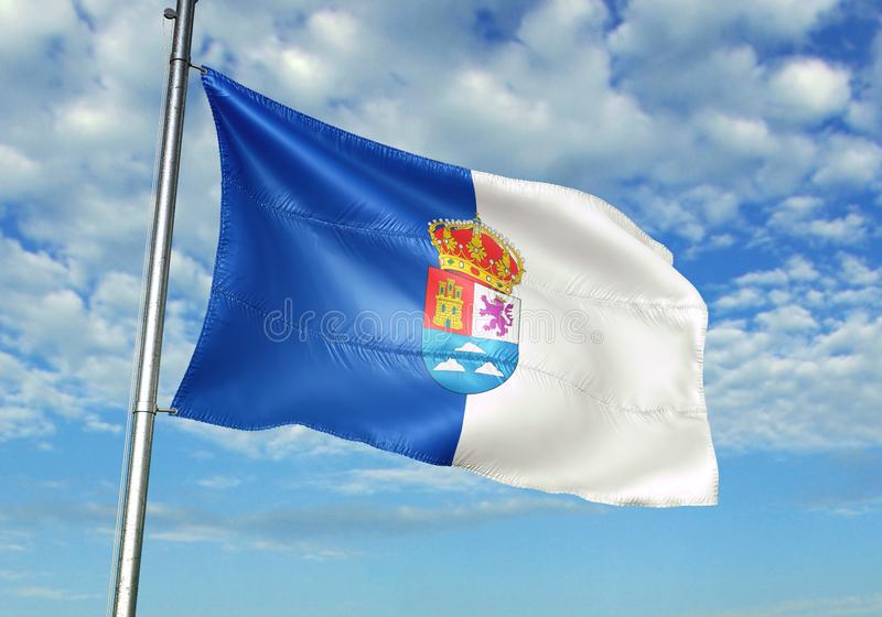 Las Palmasprovincie die van de Vlag van Spanje met hemel op realistische 3d illustratie als achtergrond golven stock illustratie