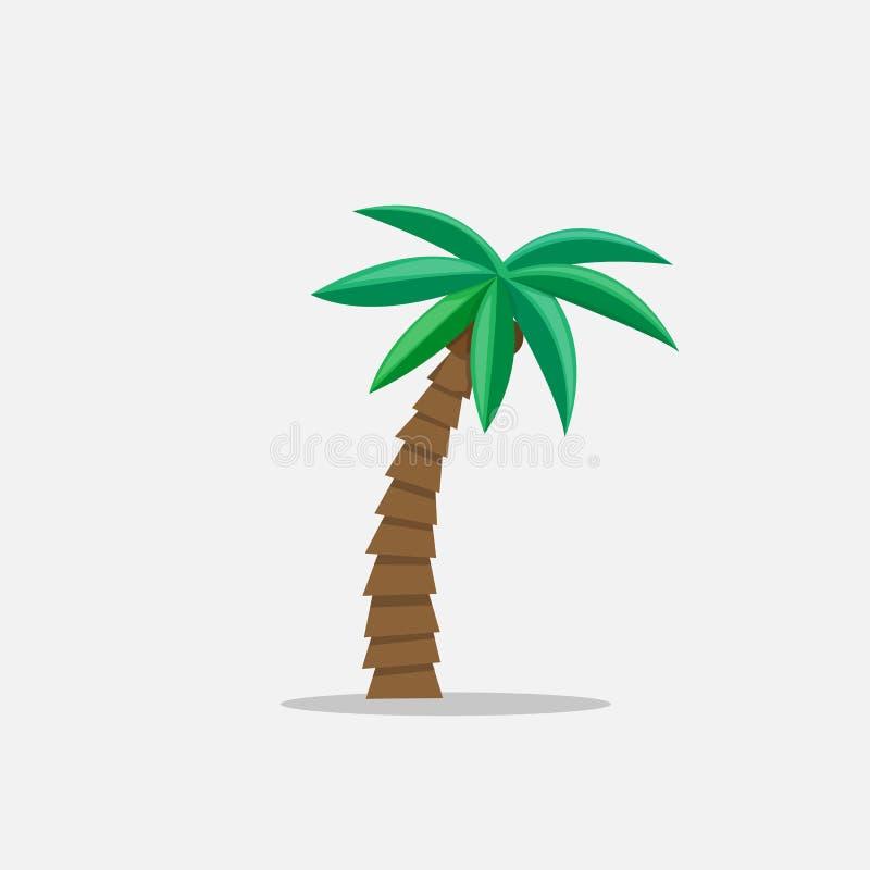 Las palmeras en historieta diseñan aislado en el ejemplo blanco del vector del fondo Planta tropical del árbol del verano en la n libre illustration