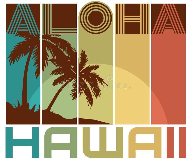 Las palmeras hawaianas retras del arte del diseño de la camiseta varan hawaiana ilustración del vector