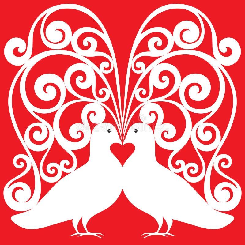 Las palomas blancas emparejan besar el modelo con un symb del corazón ilustración del vector