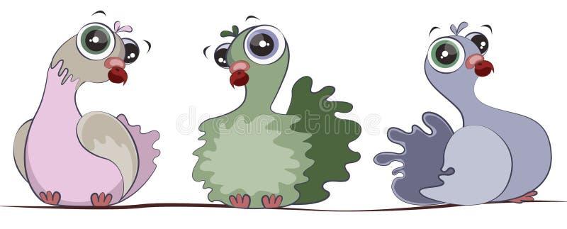 Las palomas lindas se están sentando en el alambre Personajes de dibujos animados stock de ilustración