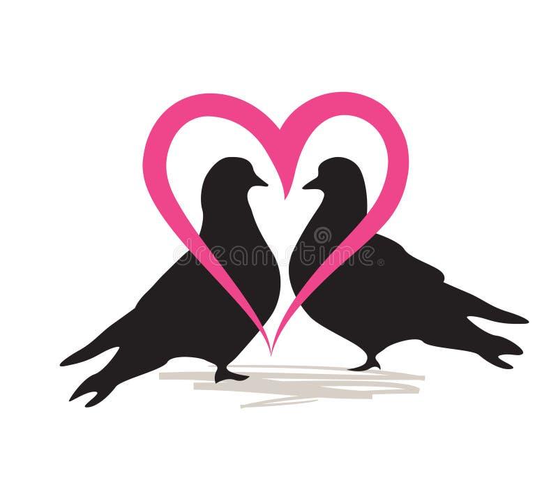 Las palomas se juntan en silueta aislada amor Tarjeta del día de tarjeta del día de San Valentín del corazón del amor stock de ilustración