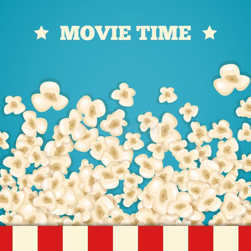 Las palomitas del montón para la película mienten en fondo azul libre illustration
