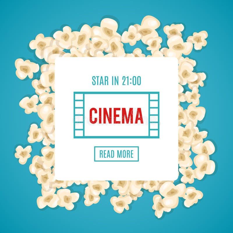 Las palomitas del montón para la película mienten en fondo azul stock de ilustración