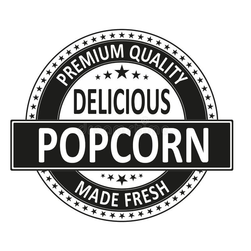 Las palomitas deliciosas de la calidad superior hicieron el sello fresco de la insignia ilustración del vector