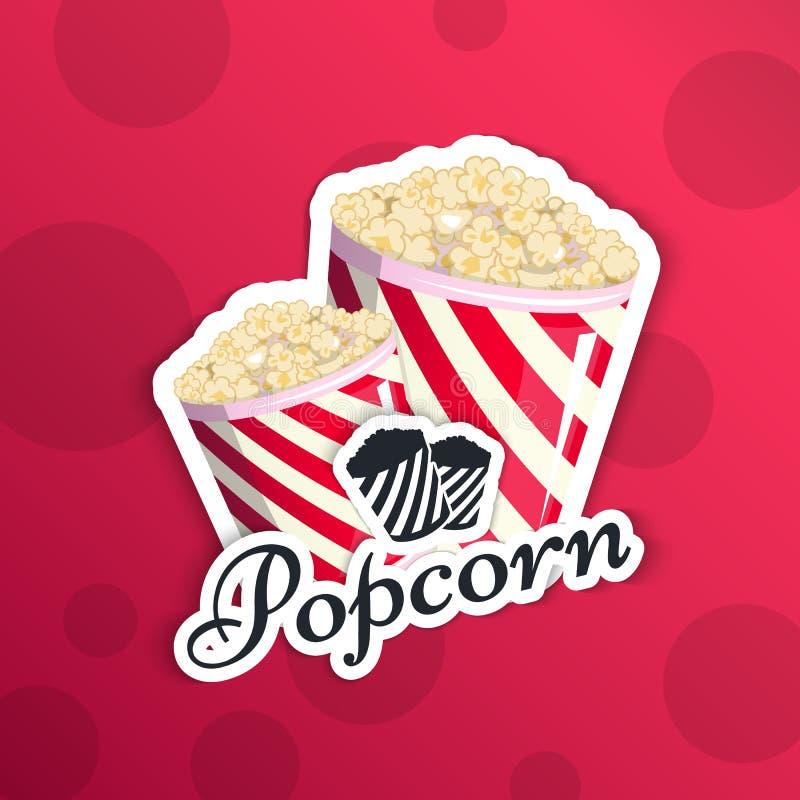 Las palomitas están en un emblema rayado del logotipo del logotipo para su producción, un cubo del aperitivo cuando usted mira pe stock de ilustración