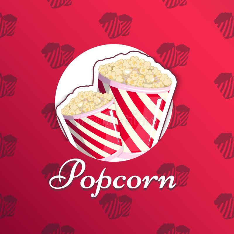 Las palomitas están en un emblema rayado del logotipo del logotipo para su producción, un cubo del aperitivo cuando usted mira pe ilustración del vector