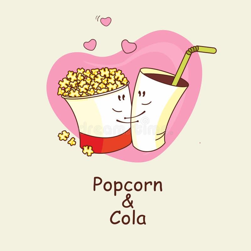 Las palomitas y la cola, amor es forever Palomitas y una bebida que abraza libre illustration