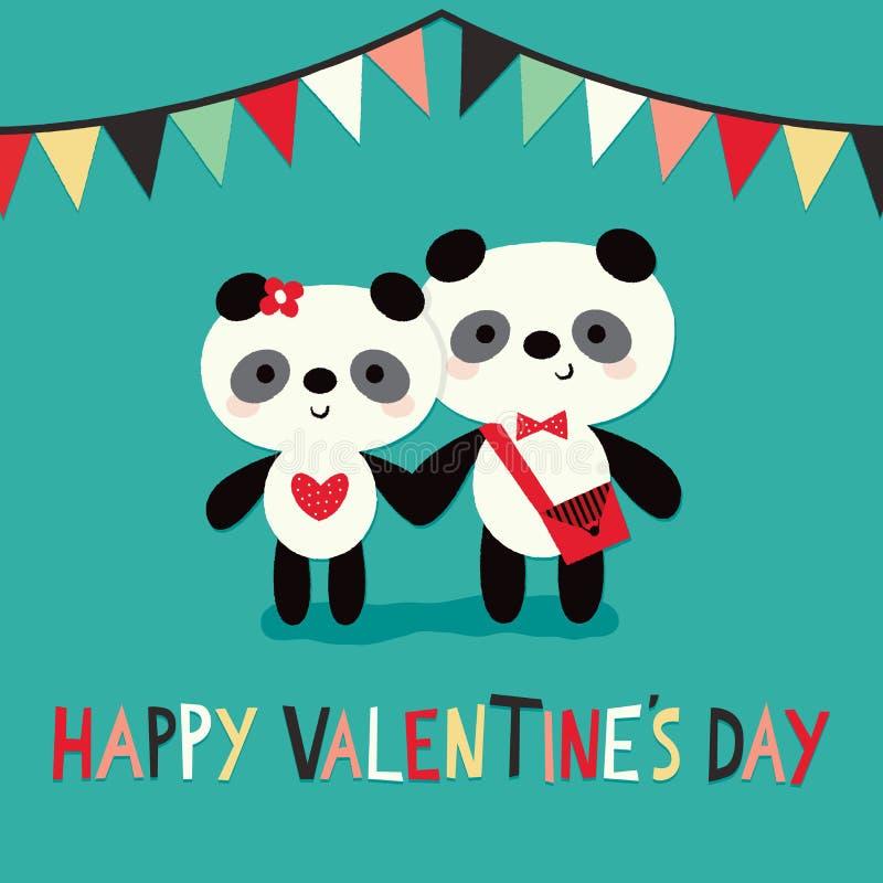 Las pandas felices de la tarjeta del día de tarjetas del día de San Valentín que golpean la guirnalda acuñan stock de ilustración