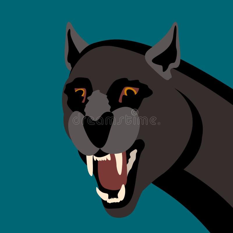 Las panteras negras dirigen el lado plano del estilo del ejemplo del vector ilustración del vector