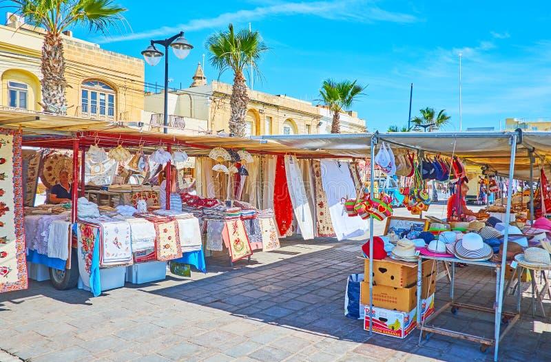 Las paradas del mercado del artesano, Marsaxlokk fotos de archivo libres de regalías