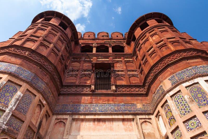 Las paredes del fuerte de Agra fotografía de archivo libre de regalías