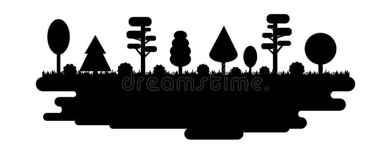 Las, park, aleja z Różnymi drzewami Czarna sylwetki panorama Wektorowa ilustracja odizolowywająca na biały tle ilustracja wektor