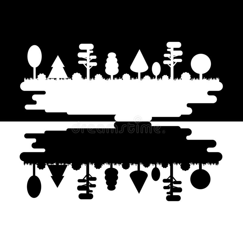 Las, park, aleja z Różnymi drzewami Czarny I Biały sylwetki panorama Zmroku i światła dal Park drewno wektor ilustracja wektor