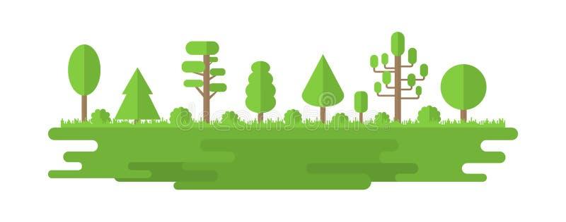 Las, park, aleja z Różnymi drzewami Lato lasu panorama koncepcja ekologii obrazów więcej mojego portfolio Wektorowa ilustracja od ilustracja wektor