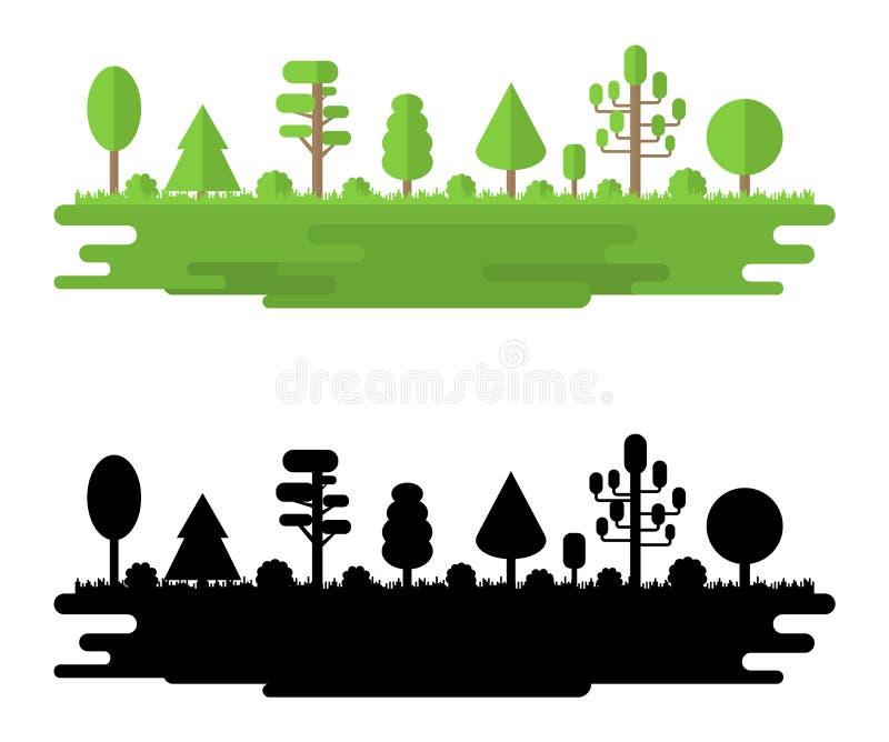 Las, park, aleja z R??nymi drzewami Lato lasu panorama koncepcja ekologii obraz?w wi?cej mojego portfolio Wektorowa ilustracja Od royalty ilustracja