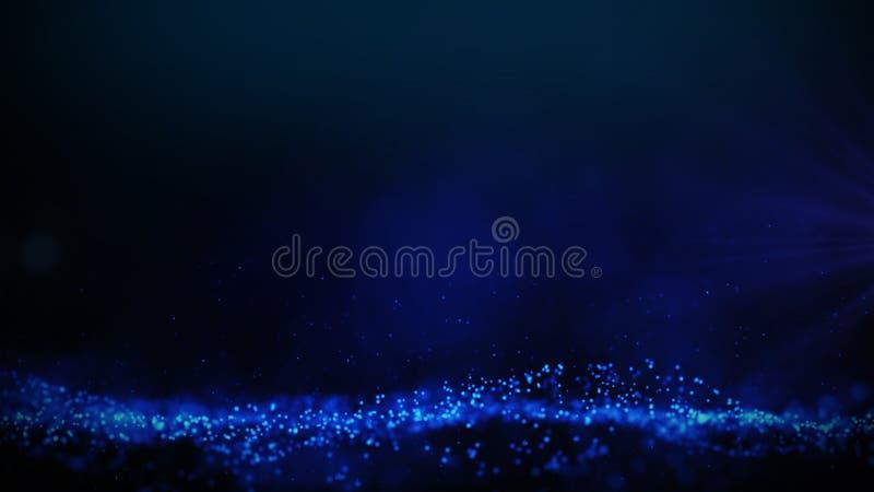 Las partículas brillantes azules agitan el backround oscuro de la pendiente stock de ilustración
